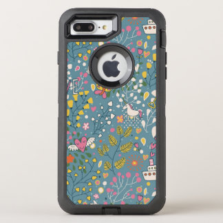 Abstract romantic pattern with cartoon OtterBox defender iPhone 8 plus/7 plus case