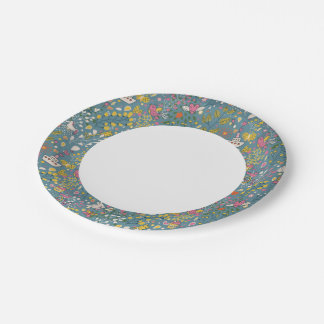 Abstract romantic pattern with cartoon paper plate