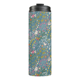 Abstract romantic pattern with cartoon thermal tumbler