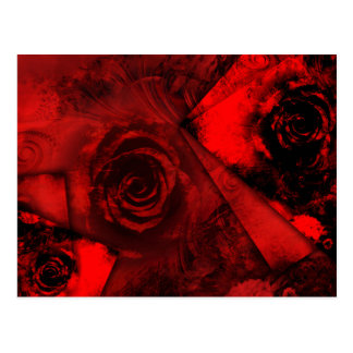 Abstract Romantic Red Rose Design Postcard
