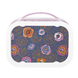 Abstract rose field pattern lunch box