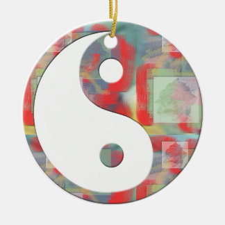 Abstract Rose Floral Yin Yang Round Ceramic Decoration