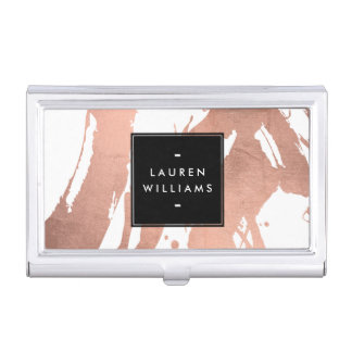 Abstract Rose Gold Brushstrokes on White Business Card Holder