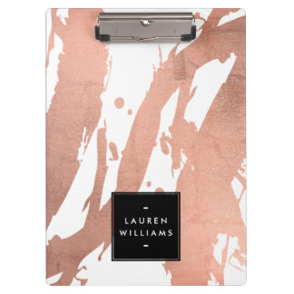 Abstract Rose Gold Brushstrokes on White Clipboard