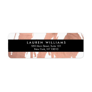 Abstract Rose Gold Brushstrokes on White Return Address Label