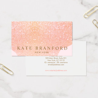Abstract Rose Gold Glitter Rose Gold Beauty Salon Business Card