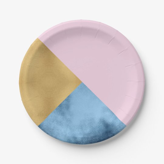 Abstract  Rose Gold Navy Glass Metallic Geometry 7 Inch Paper Plate