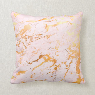 Abstract Rose Gold Pink Girly Marble Pastel Cushion