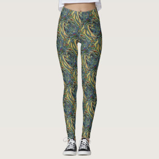 Abstract Rose Petals Pattern Leggings