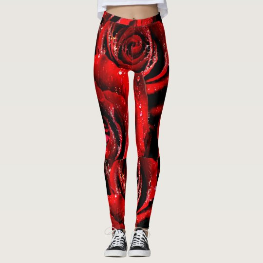 Abstract roses leggings womens