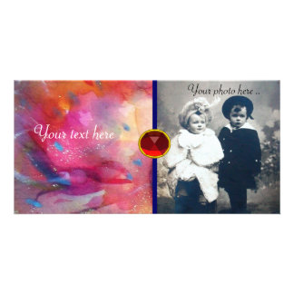 ABSTRACT RUBY PERSONALIZED PHOTO CARD