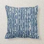 Abstract Ruffle Dark Denim Blue Cushion