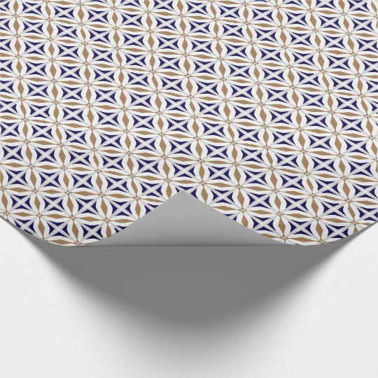 Abstract Safari Geometric Pattern Cobalt Brown Wrapping Paper