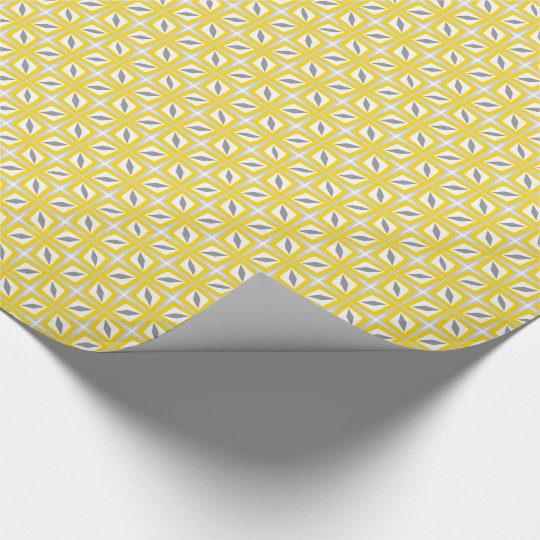 Abstract Safari Leaf Pattern Yellow and Grey Wrapping