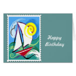 Abstract Sailboat and Sun Stamp