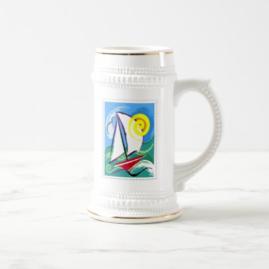 Abstract Sailboat and Sun Stamp Beer Stein