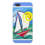 Abstract Sailboat and Sun Stamp Case For iPhone 5