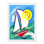 Abstract Sailboat and Sun Stamp Personalised Announcement