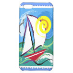 Abstract Sailboat and Sun Stamp Cover For iPhone 5C