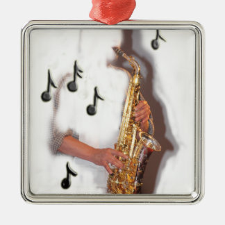 Abstract Saxophone player music and instrument Christmas Tree Ornament