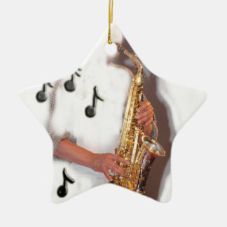 Abstract Saxophone player music and instrument Ornament