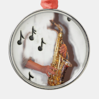 Abstract Saxophone player music and instrument Christmas Tree Ornaments