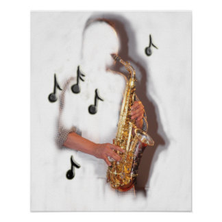 abstract saxophone player musician poster