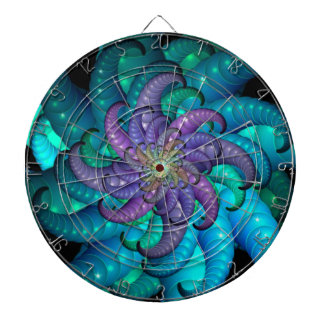 Abstract Sea Anemone Fractal Art Dartboards