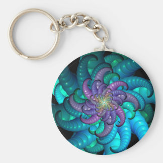 Abstract Sea Anemone Fractal Art Keychains