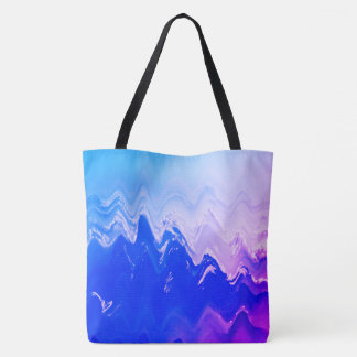 Abstract sea  beach waves blue purple surf tote bag