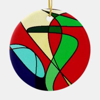 Abstract Sea Bird Sun Art Double-Sided Ceramic Round Christmas Ornament