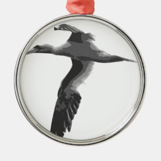 Abstract Sea Birds Round Metal Christmas Ornament