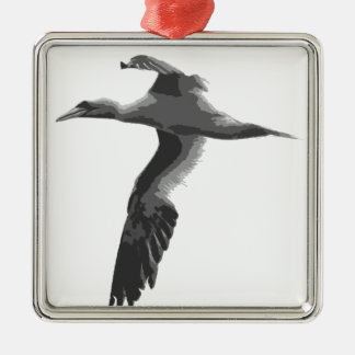 Abstract Sea Birds Silver-Colored Square Decoration