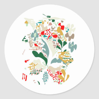 Abstract sea coral classic round sticker