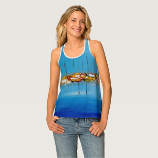 Abstract Sea with Boats Blue and Colourful Top Tank Top