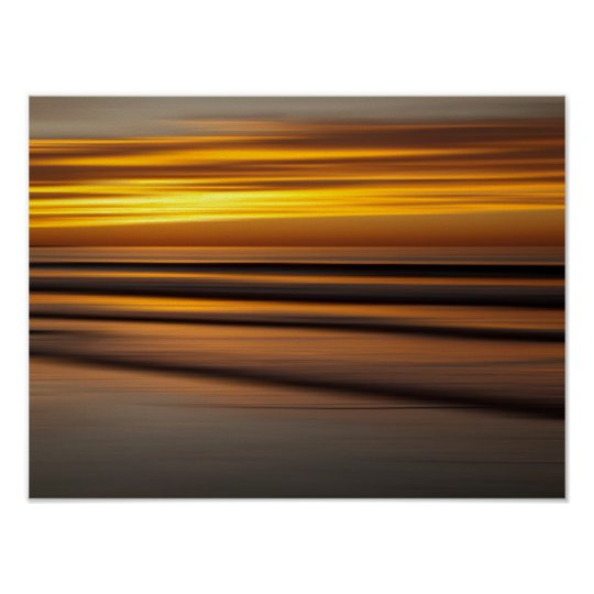 Abstract seascape at sunset, CA Poster