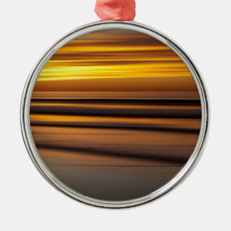 Abstract seascape at sunset, CA Silver-Colored Round Decoration