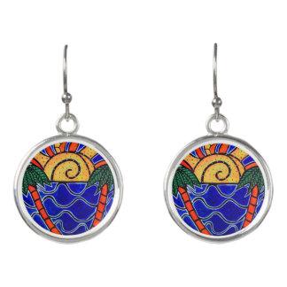 Abstract Seascape Earrings