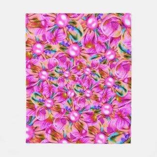 Abstract sewn pink flowers fleece blanket