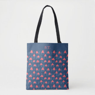 Abstract shapes in salmon and blue for a modern tote bag