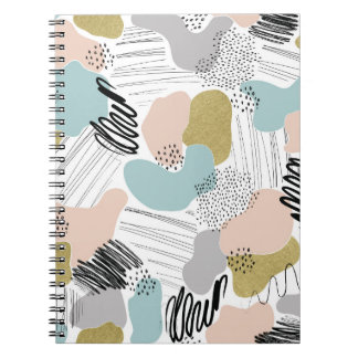 Abstract Shapes Pastel Pattern Spiral Notebook