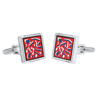 Abstract Shapes Silver Finish Cuff Links