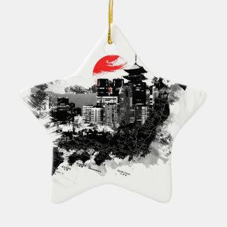 abstract shinjuku japan Tokyo Christmas Ornament