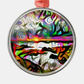 Abstract shore christmas ornament