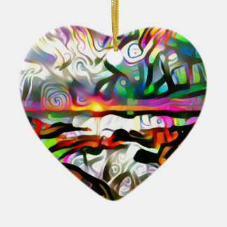 Abstract shore christmas ornament