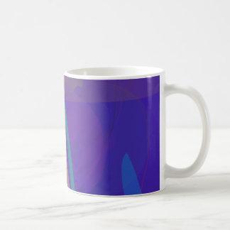 Abstract Silkscreen Emulation Dark Blue Coffee Mugs