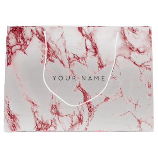 Abstract Silver Blush Marble Metallic Burgundy VIP Large Gift Bag