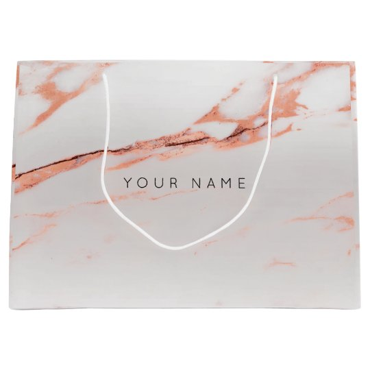 Abstract Silver Blush Marble Metallic Copper Pink Large