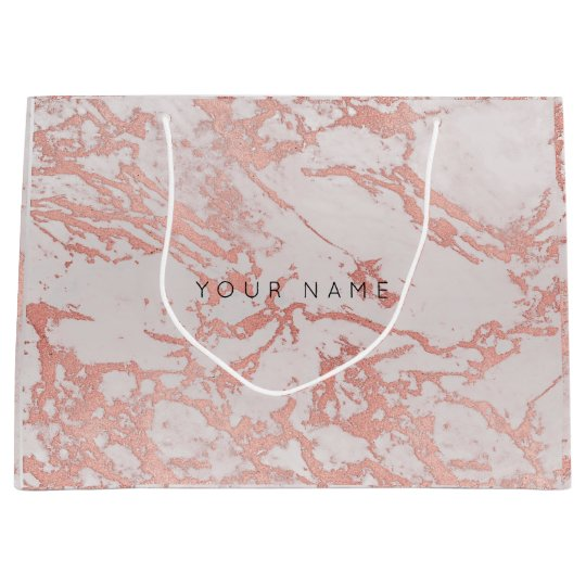 Abstract Silver Blush Marble Metallic Copper Rose Large