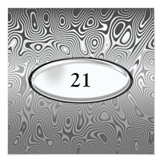Abstract Silver Metal Black 21st Birthday Male 13 Cm X 13 Cm Square Invitation Card